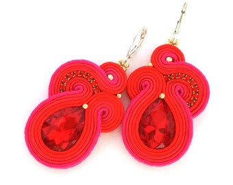 soutache earrings - red bridal earrings - christmas gift for wife - statement earrings - lightweight earrings - bridesmaids gift jewelry