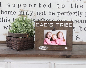 Dad's Tribe Photo Frame, Photo Display, Picture Holder, Gift For Dad, Mens Gift, Rustic Decor
