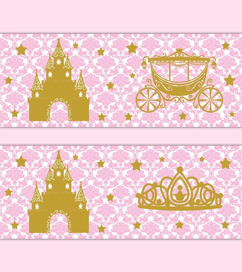PINK GOLD NURSERY Border Princess Damask Wall Art Decal Baby