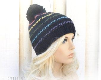 Rainbow Hat Knitted hat black beanie pom pom hat black rainbow Handmade knitwear knitted beanie winter hat Warm ski hat