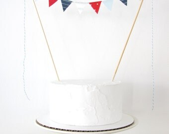 Nautical Cake Topper - Fabric Cake Bunting, Wedding, Birthday Party, Shower Decoration navy baby blue white stripes red dots sailor seaside