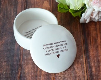 Mother of the Bride Gift - SHIPS FAST - Mothers Hold Their Children's Hands for a Short While But Their Hearts Forever - Keepsake Box