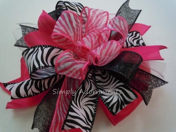 Whimsical Pink Zebra Bow Black Pink Zebra Birthday Decor Black Pink Zebra Baby Shower Hot Pink Zebra Gift Bow Fab 40th Birthday Party Decor