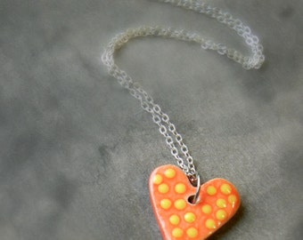 Orange Ceramic Heart Jewelry Sterling Silver Plated Necklace Yellow Dotted Pendants
