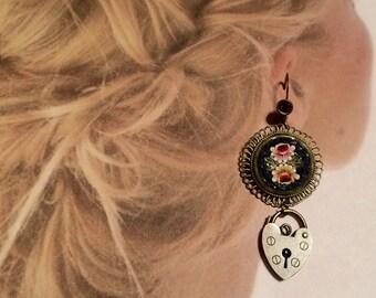 Mosaic Heart Lock Earrings Silver Micro Mosaic 20-30's
