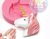 Unicorn Head Mold 766m Silicone Flexible CupcakeTopper Fondant Gum paste Cake Pop Cookie topping Chocolate Melts Flexible Mold BEST QUALITY
