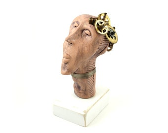 Stoneware sculpture, Robot Sculpture, Ceramic sculpture, Steampunk sculpture, Mechanical sculpture, Head statue , desk accessories