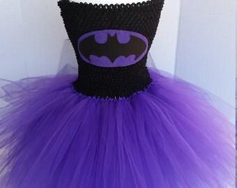 Purple and Black Batman Bat Woman Girl Costume Flower Girl Tutu Dress with Mask