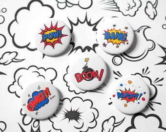 Superhero Badge - Birthday badge - Wedding Favour - Childrens Party - Birthday Party - Comic Book Style - Set of 5