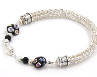Silver Bracelet - Silver Bangle - Wire Knit Bracelet - Wire Knit Jewelry - Viking Knit Bracelet - Womens Bracelet  - Silver Beaded Jewelry