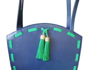 Vintage MOSCHINO navy leather tote bag with green tape trimming and fringes. Perfect purse for daily use