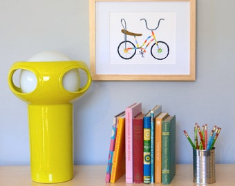 Recycled Bicycle Print, Banana Seat and Sissy Bars, Original Bicycle Art Print, Colorful Home Decor, Affordable Art