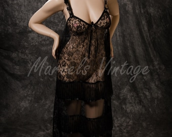 Vintage Malina Nightgown Sheer Black Lace Lingerie Accordion Pleat Accents Size XL