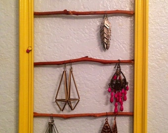 Jewelry Frame Hanger / Life is Beautiful - Yellow