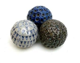 Grey Blue And White , Ceramic Sculpture ,  Ceramic Balls , Ceramic Pebbles, Spa Decor