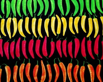 SALE - Colorful Chili Peppers - Cotton Fabric