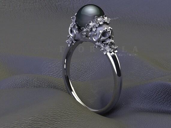 Sugar Skull Ring with Black Pearl Center 14K Gold