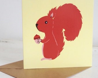Mr Nuts Red Squirrel Greetings Card