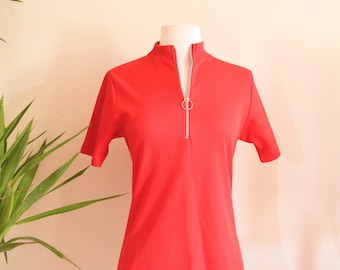 Mod Shortsleeve Mock Turtleneck Top, Bright Red Ribbed Shirt, 1960s