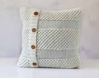 Knitted pillow - chunky knit cushion cover - milky white decorative pillows case - knit home decor 16x16   0324
