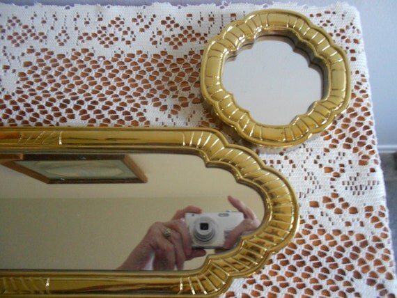 Vintage long wall mirrors one small homco shiny ornate for Small long mirrors