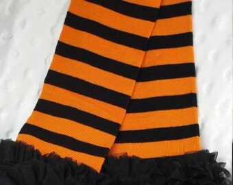 Halloween Leg Warmers, Orange and Black Striped with Ruffle, Leg Warmers, Baby Leg Warmers, Leg Warmers for Girls, Toddler Leg Warmers