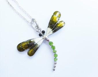 Dragonfly necklace, green dragonfly necklace, green dragonfly necklaces, dragonfly pendant, dragonfly jewelry,dragonfly necklaces,birthstone