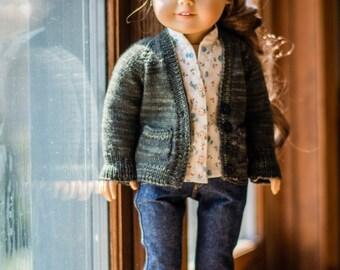 """Libby - Boyfriend Cardigan Knitting Pattern for 18"""" Dolls"""