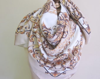 """traditional square scarf, classic design, ivory and beige scarf, ladies headscarf, 80s power dressing, headwrap, classic shawl, 34"""" square"""