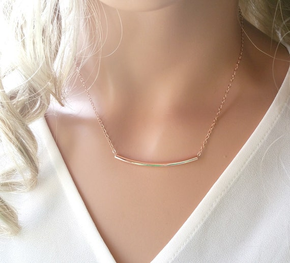 Rose gold bar necklace, Waved bar necklace, Tube Line charm, Friend, Friendship, sister, bridesmaid gifts