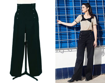 BLACK SAILOR PANTS, high waist, black 1940's style swing pants.