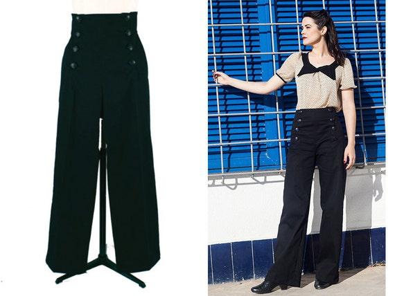 BLACK SAILOR PANTS high waist black 1940's style swing