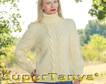 SUPERTANYA Hand knitted mohair sweater in ivory off white, fine mohair knitted jersey