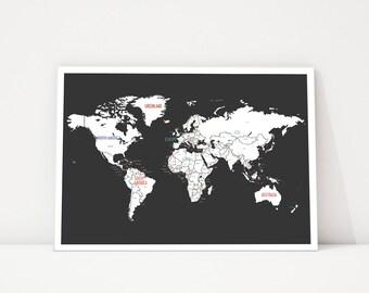 World Map Wall Art, Travel Map, World Map Poster, Nursery Wall Art, World Map Print, Wall Art for Kids, Kid's World Map,Modern Map Black Map