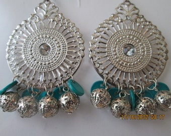 Silver Tone Chandelier Earrings with Silver Beads and Turquoise Color Disc Dangles