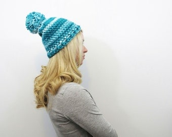 Ombre Pom Pom Hat. Chunky Pompom Beanie. Aqua and White Beanie. Womens Striped Hat. Womens Winter Hat. Ombre Crochet Hat. Teal PomPom Hat.
