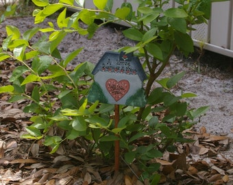 Tole Painted Wooden Plant Pick - Home
