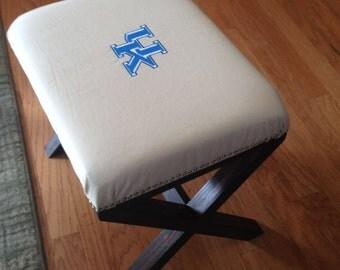 New University of Kentucky upholstered cushion x-bench/ottoman.