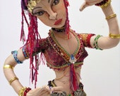 RESERVED Sheherazade, exotic belly dancer, cloth art doll