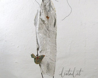 Woman with Bird Driftwood and Wire Sculpture Mixed Media Art