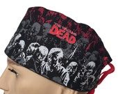 Surgical Scrub Cap - The Walking Dead scrub hat - Red, Grey and White Zombies - halloween Scrub Hats - Surgeons Scrub Cap - Doctors Gift