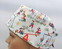 Surgical Scrub Cap - Kids at Play Pattern Scrub Cap - Playground - Scrub Hats - Surgeons Scrub Cap - Doctor gifts