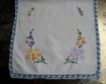 SUMMER SALE--Vintage Dresser Scarf, Cross Stitch and Embroidered Flowers, Crocheted Edge