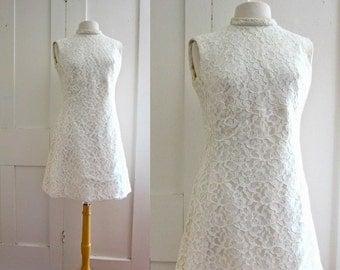 60s Mini Dress - Wedding Dress - Lace- Princess Seams - Pockets - Alternative Wedding Dress