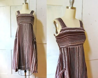 70s Empire Waist Dress - XS - Sun Dress - Lined - XXS - Brown and White Print