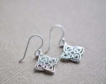Heart Earrings - Flower Drop Earrings - Sterling Silver Earrings - Heart Jewelry - Gift for women