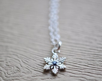 Snowflake Necklace - Sterling Silver Snowflake Pendant With Sapphire Blue Stone - Snowflake Jewelry - Winter Necklace - Gift For Women