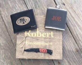 Set of 3, Best Man Gift, Cool Groomsmen Gift, Groomsmen Gift Idea, Pocket Knife, Mens Wallet, Personalized Flask, Engraved Flask