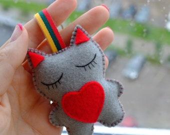 Lovely kitten keychain bag decor  grey kitten felt plushie