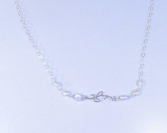 STERLING Silver LEAF LINK Necklace